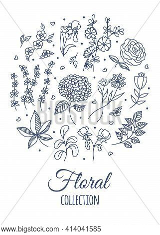 Outline vector Spring Flowers and Leaves doodle set. Hand drawn Garden Plants. Space for text. Navy Blue Line art Floral elements on white background for design greeting card, poster, invitation