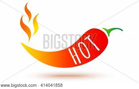Vector Illustration Of Chilli Pepper With Flame. Vector Icon Of Red Chili Pepper In Fire.