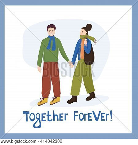 A Couple In Love. Man Hugs Woman, A Manifestation Of Feelings. Meeting Of Friends. Vector Characters