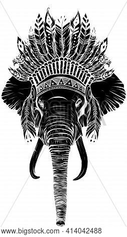 Black Silhouette Of Elephant Head With American Indian Chief Headdress.