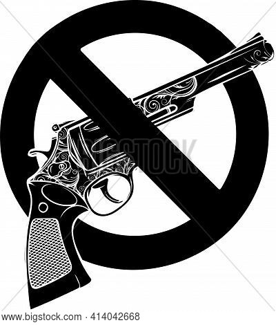 Black Silhouette Of Symbol No Gun On White Background Vector Illustration