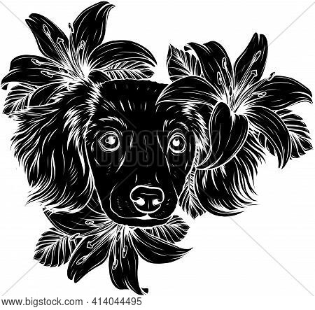Black Silhouette Of Portrait Of A Spaniel Dog In A Flower Head Wreath. Vector Illustration.