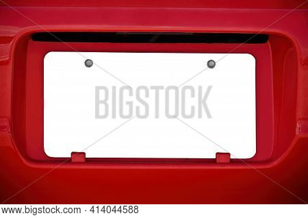 Horizontal Shot Of A Blank White License Plate On A Red Car.  This Is A Revised Image.