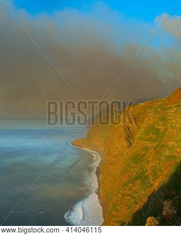 Smoke From Burning Forest Over The Ocean. Madeira Isand, Portugal