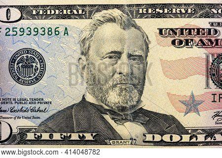 Us President Ulysses Grant Portrait On 50 Dollar Bill, United States Money Closeup