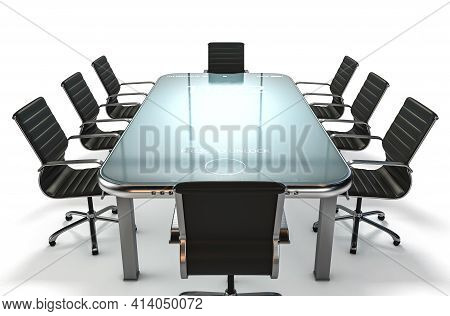 A Modern Concept Showing An Array Of Boardroom Office Chairs Convened For A Meeting Around An Illumi