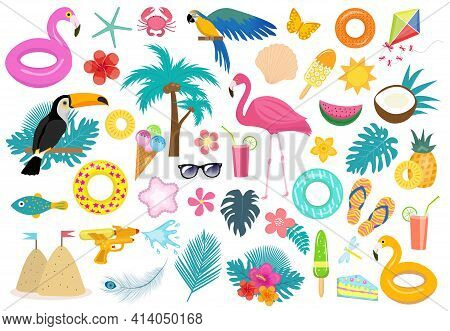 Big Tropical Icon Set With Birds And Flowers, Flat, Cartoon Style. Exotic Collection Of Design Eleme