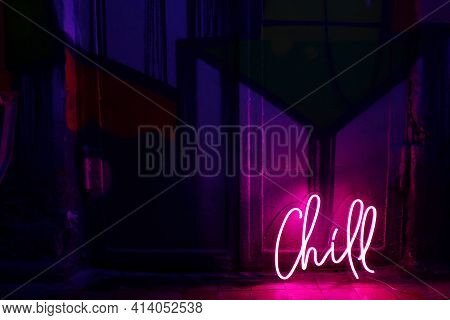 Pink Neon Sign Chill. Trendy Style. Neon Sign. Custom Neon. Home Decor.