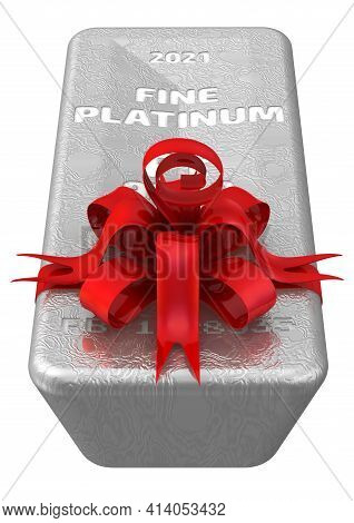 The Highest Standard Platinum Ingot As A Gift. One Ingot Of 999.9 Fine Platinum Tied With A Red Ribb