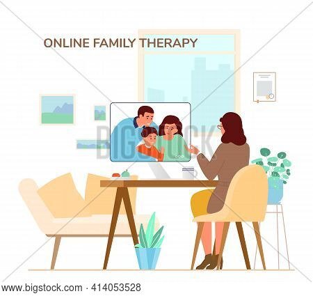 Online Family Therapy Concept Flat Vector Illustration.  Woman Psychologist Or Psychotherapis Giving