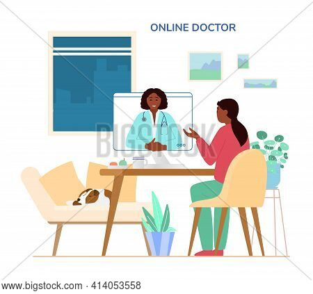 Online Doctor Consultation Concept. Afroamerican Woman Sitting At Desk At Home Talking To Doctor By