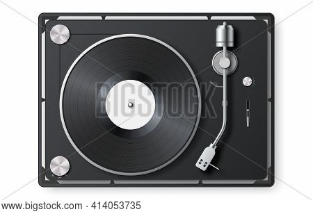 Realistic Vinyl Record Player. 3d Detailed Vintage Turntable With Vinyl Record. Retro Gramophone Lp
