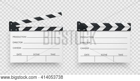 Set Of White Realistic Movie Clappers Board. Clapboards Open And Closed. Movie, Cinema, Film Symbol