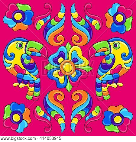 Mexican Talavera Ceramic Tile Pattern With Tropical Toucans. Traditional Decorative Objects.