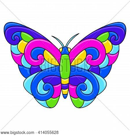 Decorative Ornamental Stylized Butterfly. Mexican Ceramic Cute Naive Art.
