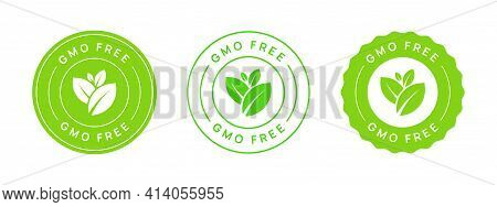 Gmo Free Vector Icon Circle Badge Sign. Non Genetically Modified Organism Emblem Sticker. Organic Fo