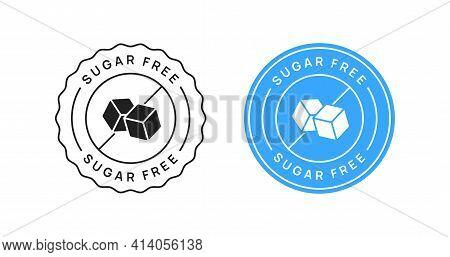 Sugar Free Vector Icon Circle Sign. Diabetic Diet Badge.