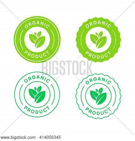Organic Product Vector Icon Circle Sign. Healthy Food Badge. Natural Product Emblem.