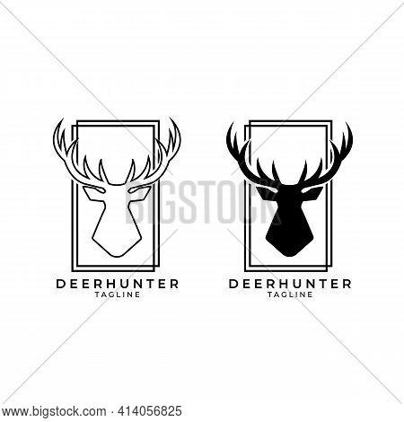 Deer Hunt Logo Vector Illustration Design, Hunter Icon , Deer Head Hunter Symbol