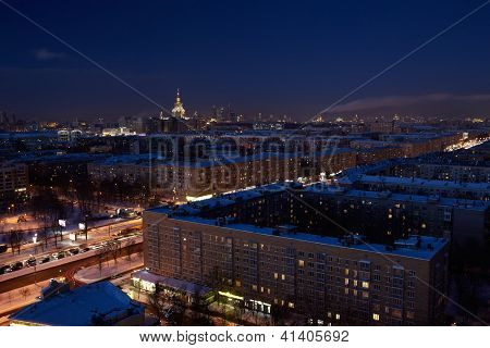 Night city. Moscow. Leninsky prospekt. View at the Moscow State University. poster