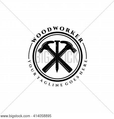 Carpenter Logo Vector Illustration Design, Wood Worker, Workshop, Icon, Symbol