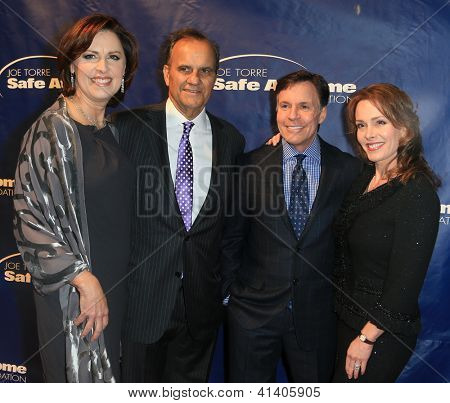 NEW YORK-AUG 14: Ali and Joe Torre (L) with Bob and Jill Costas attend the 10th Anniversary Joe Torre Safe At Home® Foundation Gala at Pier 60, Chelsea Piers on January 24, 2013 in New York City.