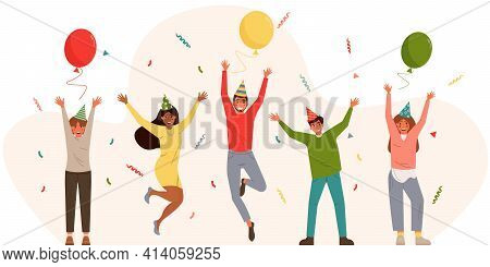 Groups Of Young Happy People Celebrating A Party. Smiling Men And Women With Hands Raised Up. Isolat