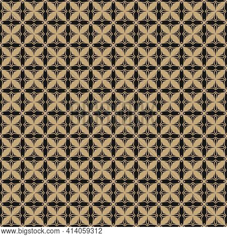 Golden Geometric Ornament Pattern. Gold And Black Vector Seamless Texture With Small Flower Silhouet