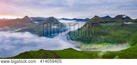 Panorama over majestic sunny fjords of Funningur