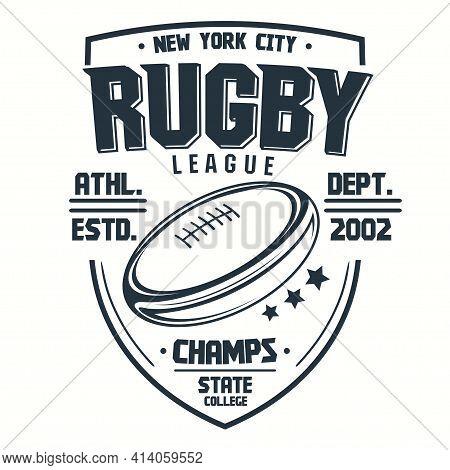 Rugby T-shirt Print, Sport Club Emblem, College League Sportswear Design. Vector