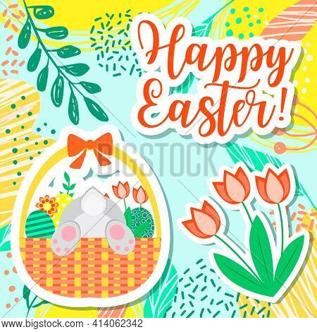 Happy Easter Spring Greeting Card. Basket With Funny Bunny And Easter Eggs. Vector Illustration