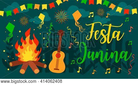 Festa Junina, For Latin American Holiday, The June Party Of Brazil Festive Vector Background