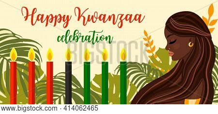 Kwanzaa African American Culture Tradition Celebration Design With Candles And Beautiful Black Woman