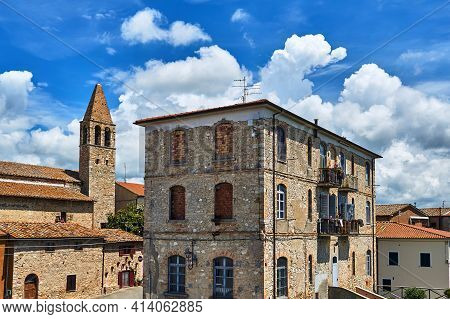 Stone, Historic Buildings In The Town Of Magliano In Toscana, Italy