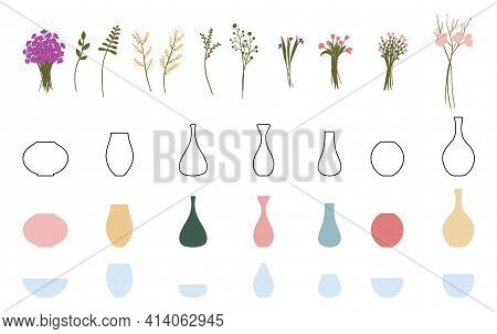 A Set Of Elements For Creating Bouquets Of Flowers In A Vase. Constructor. Create Your Own Bouquet.