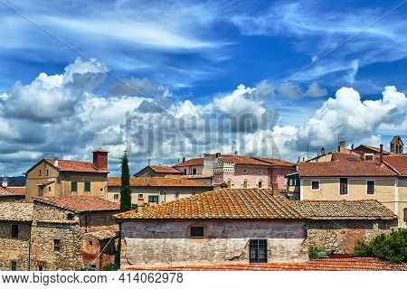 Roofs Of Historic Buildings In The City Of Magliano In Toscana, Italy