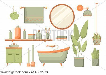 Set Of Bathroom Elements Isolated On White Background. Sauna Set In Stylish Color. Bath, Vanity Unit