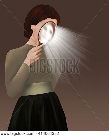 A Woman Holds A Mirror Close To Her Face As Rays Of Light Are Emitted In This 3-d Illustration About
