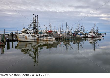Richmond, British Columbia, Canada - January 10, 2018. Steveston Commercial Fishboats At Dock. Calm