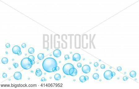 Blue Bubbles Abstract Background With Place For Text. Bath Sud, Aquarium Or Sea Water Stream, Soap O