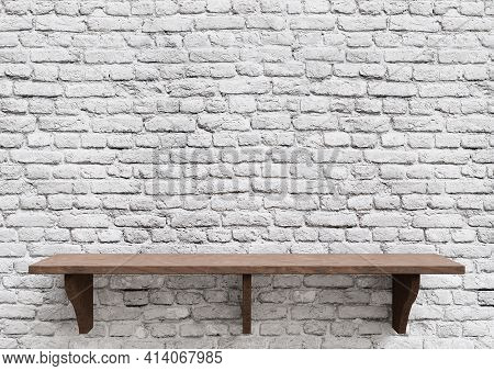 Empty Wooden Shelves White Brick, Display Mockup Tabletop Isolated. 3d Illustration