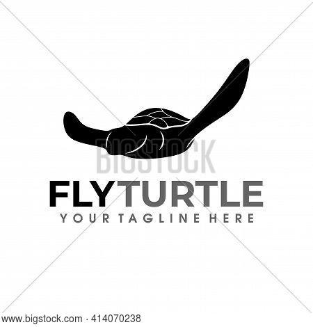 Fly Turtle Logo. Turtle Logo Design Silhouette Vector Illustration