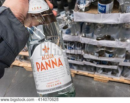 Belgrade, Serbia - March 21 2021: Acqua Panna Logo On A Glass Bottle Of Still Water For Sale In Belg