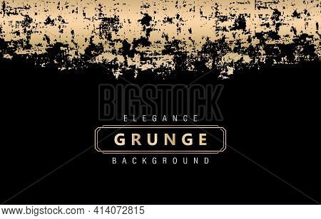 Elegance Golden Grunge With Isolated Black Backgrounds. Details Textures Grungy Unique Styles. Appli