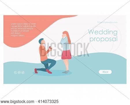 Wedding Proposal Web Page Template Flat Design