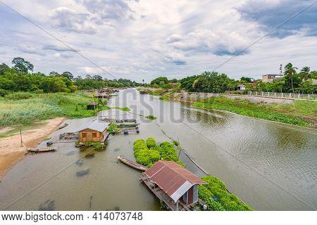 Sakae Krang River And Home Villages Near The River At Uthai Thani Thailand.