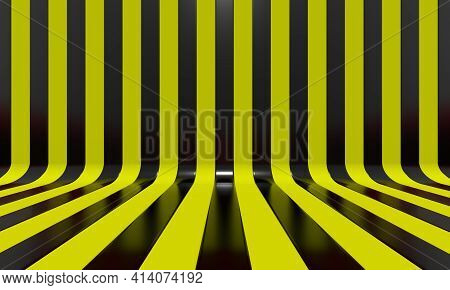 Realistic abstract geometric background with black and yellow convergence stripes with shadows and glares. 3d rendering