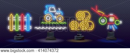 Agriculture Neon Icons, Vector Neon Glow On Dark Background. Agriculture Neon Icons. Tractor Neon Ic