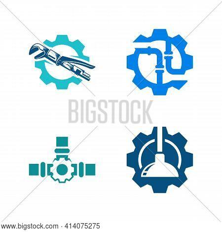 Set Of Gear Plumbing Logo Design Vector Illustration, Creative Plumbing Logo Design Concept Template