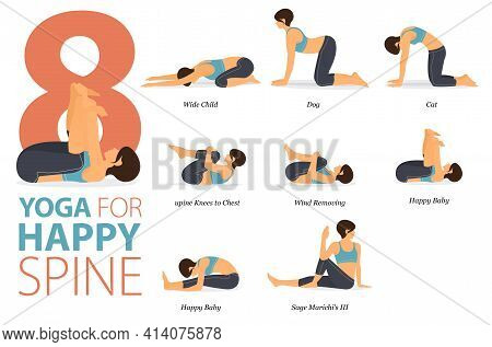 Infographic 8 Yoga Poses For Workout In Concept Of Happy Spine In Flat Design. Women Exercising For